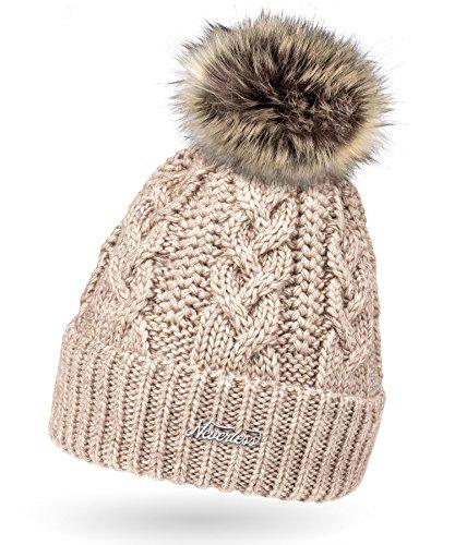 Damen Strick-Mütze gefüttert mit Fell-Bommel, Kunstfell, Winter-Mütze,...