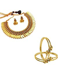 Penny Jewels Alloy Gold Plated Comfy Stylish Necklace With Earrings Set & Bangles Set For Women & Girls