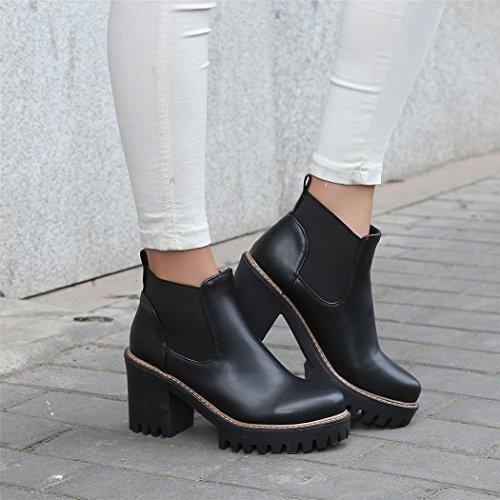 ZQ@QXIn autunno e in inverno, testa tonda impermeabile dello spessore di Taiwan con scarpe con i tacchi alti elegante grandi numeri di massa materie Stivali Stivali femmina Black