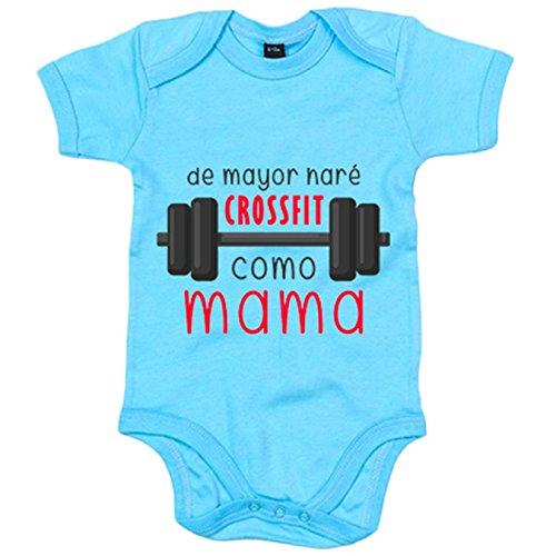 Body bebé De mayor haré Crossfit como mamá - Celeste, 6-12 meses