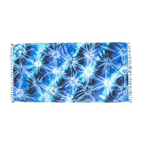 ManuMar Damen Sarong | Pareo Strandtuch | Leichtes Wickeltuch mit Fransen-Quasten (L: 115 x 225 cm, Blau Türkis Schwarz)