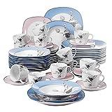 Veweet DEBBIE 60pcs Service de Table Porcelaine 12pcs Assiette Plate, Assiette à Dessert, Assiette Creuse, Tasse avec Soucoupes pour 12 Personnes Vaisselles Céramique Bleu+Rose