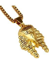 mcsays 18Kgold titanio acero chapado en oro Egipto Faraón King colgante hiphop cadena collar