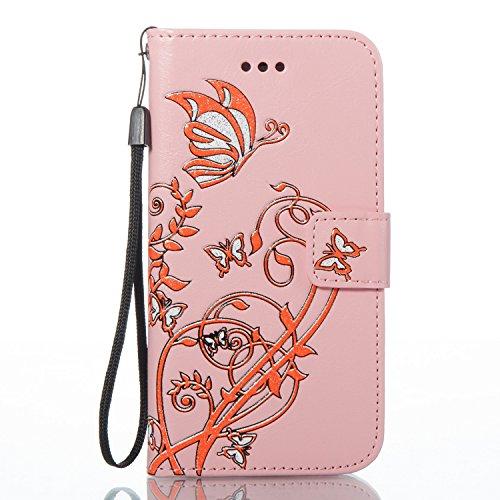 Cover iPhone 7 Rosa Caldo, Custodia iPhone 7, YingC-T iPhone 7 Custodia a Libro Flip Magnetica e Porta Carte di Credito con Cordino Bracciale Elegante Colorato Stampato Farfalla Fiori Design Skin pu P Rosa