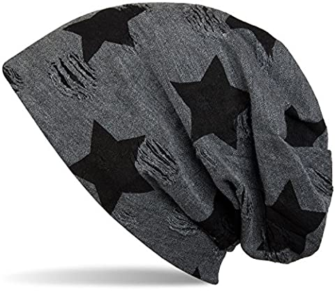 styleBREAKER Bonnet avec des étoiles et le motif de points vintage, Beanie, Unisexe 04024046, couleur:gris foncé