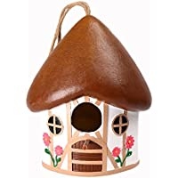 Wildbird Care Pet Supplies Resin Bird House with House Style BRH03 (White & Brown)