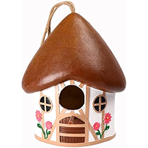 WildBird Care Pet Supplies Resin Bird House with House Style (White & Brown)