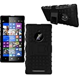 Defender Hard Armor Hybrid Rubber Bumper Flip Stand Rugged Back Case Cover for Nokia Lumia 830 - Black