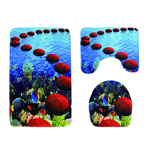 OUNONA Rutschfeste Bad Teppich Set Fußmatte Abdeckung Sockel-WC-Sitz mit Muster Tiere des Meer Stein rund 3-teilig - Runde Marine Teppich