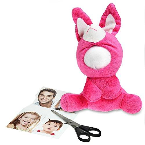 Foto Puppe als Bilderrahmen – Kuscheltier Anhänger mit Gesicht zum Selbstgestalten – Ideal als Geburtstagsgeschenk für Männer und Frauen – origineller Fotorahmen - Pink Bunny