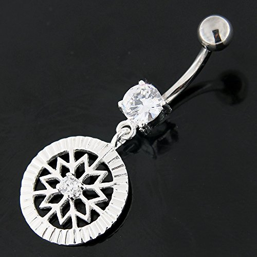 Snowflake fantaisie fleurs pendantes en argent 925 avec acier inox Belly Claire