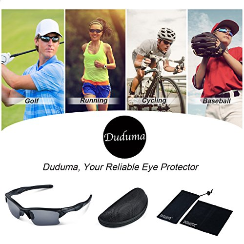 Duduma Polarisierte Sportbrille Sonnenbrille Fahrradbrille mit UV400 Schutz für Damen & Herren Autofahren Laufen Radfahren Angeln Golf TR90 (Grau Matt Rahmen mit Schwarz Linse) - 6