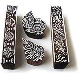 Royal Kraft Hand Made Peacock and Border Designs Wood Blocks for Printing - Set of 4