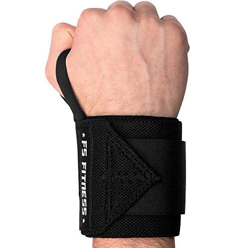 """Handgelenkbandage [2er Set] Wrist Wraps - Profi Bandagen für Fitness, Bodybuilding, Crossfit, Krafttraining - 45 cm (18"""") - Für jedes Handgelenk passend (Schwarz)"""