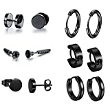hopewey 6 Paare Edelstahl Männer Ohrstecker für Herren Damen Schwarz Hoop Ohrringe Huggie Piercing Ohrringe Ohrschmuck Ohrclips Creolen Ohrhänger Tunnel Ohrringe Fake Plug Stud Earrings E1