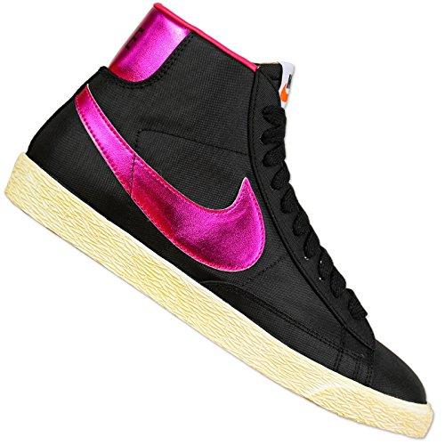 Nike Damen Blazer HIGH Vintage Schuh Freizeit Oldschool Sneaker SCHWARZ LILA, Farbe:Schwarz, Schuhgröße:EUR 36 1/2 -