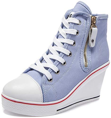 Solshine Damen Canvas Sneaker Wedge Turnschuhe mit 6cm Keilabsatz 689 Blau 41EU