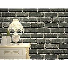 Auténtica piedra pared realista efecto sintética en relieve con textura papel pintado efecto ladrillo marrón blanco antiguo rústico erosionado blanco papel pintado 0.53m * 10m, gris