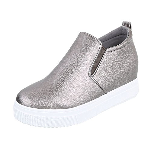 Ital-Design Keilstiefeletten Damen-Schuhe Plateau Keilabsatz/Wedge Keilabsatz Stiefeletten Silber Grau, Gr 40, 6689-Y-