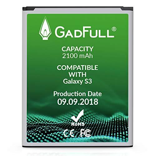 GadFull Batteria per Samsung Galaxy S3 | di costruzione anno 2018 | Corrisponde alla batteria a ioni al litio originale EB-L1G6LLU | del modello Galaxy S3 i9300 | Galaxy S3 LTE i9305 | batteria per il tuo smartphone | Perfetta come batteria sostitutiva