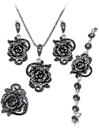 Shining Diva Fashion Jewellery Set AAA Crystal Rose Party Wear Stylish Pendant Necklace Set For Women With Ring...
