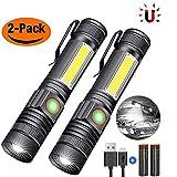 iToncs Taschenlampe LED Hohe Leuchtkraft, Mini USB Aufladbar Camping Taschenlampe mit Magnet, Wetterfesten Hochgradigen Legierung Led Taschenlampen für Kinder SOS COB Arbeitsleuchte LED mit 4 Modis