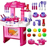 Babytintin™ Kids Kitchen Playset Toddler Pretend Play Kitchen Kit Cooking Sets Chef Toys Workbench For Children's Learning Resources Kitchen Play Set Toy For Girl