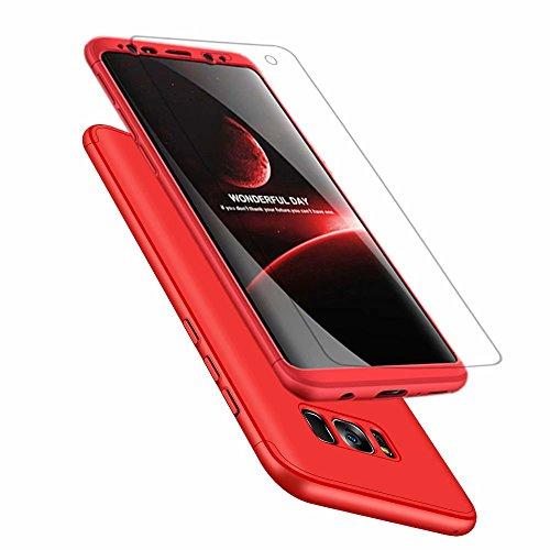 Samsung Galaxy s8 Hülle, DYGG Flexiblem PC Hybrid Schutzhülle Kohlenstoff-Fasern Tasche Slim-Fit Case für Samsung Galaxy s8 Rot