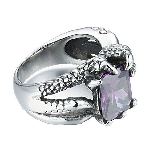 Ringe Billig Versprechen Männlich (HIJONES Herren Edelstahl Vintage Dragon Claw Prong Einstellung Kubischer Zirkon Ring Lila Größe 65)