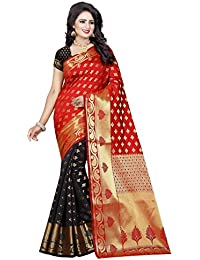 SATYAM WEAVES WOMEN'S ETHNIC WEAR BANARSI SILK SAREE WITH BLOUSE PIECE.(RAABTA) (RED-BLACK)