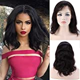 """Perruque Femme Vrai Cheveux 100% Cheveux Humains Naturels Bresiliens Remy Ondulé - Lace Front Frontal Wig Naturel Human Hair (Densité: 130%, Longueur: 12""""/30cm)"""