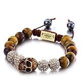 Shimla SH 091 Tiger Eye Skull Bracelet with Gold Fireballs with Clear Czech Crystals of Diameter 5.5cm - 9cm