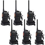 Retevis RT24 Plus Walkie Talkie 16 Kan�le UHF PMR446 Funkger�t Wiederaufladbar USB Ladeschale mit Headset (Schwarz-3 Paar, Schwarz) Bild