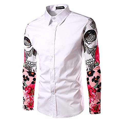 Whatlees Mens Fashion Luxury Casual Slim Fit Stylish Chemises ¨¤ manches longues Skull Rose Print B029-white-XL