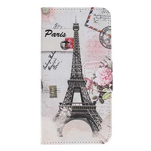 Hülle Leder, Brieftasche Handyhülle Flip Wallet Cove Silikon Schutzhülle Case mit Kartenfach Magnetisch Klapphülle für Huawei Mate 20 Lite,Eiffel Turm ()