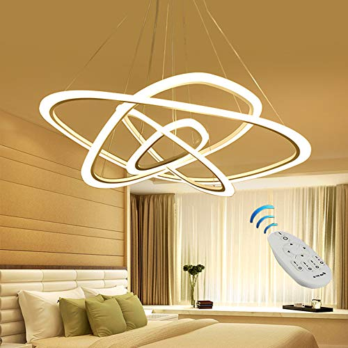 Vi-xixi LED Pendelleuchte Hängeleuchte Deckenleuchte Dimmbar Licht mit den Fernbedienung Hängelampe 3 Farbor Warme Licht Natürliche Licht Weiß Licht (Dämmerliches Licht)