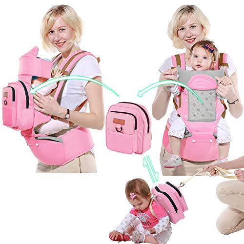 WDXIN Babytrage Bauchtrage Hüft Multifunktional Single Doppel Schulter Baby Strap Taille Hocker Baby Sitzen und umarmen Taille Hocker,A - Doppel-wippe-sitz