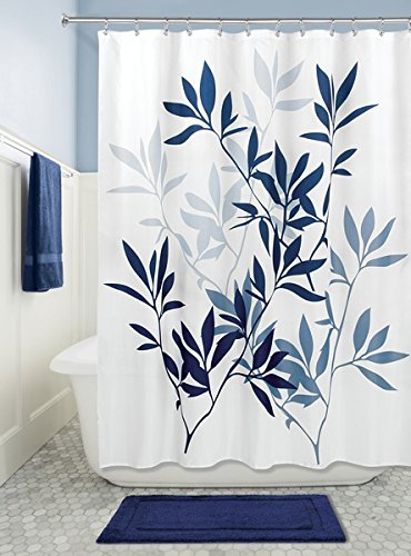 mDesign Duschvorhang mit Blättermuster - ideales Badzubehör mit perfekten Maßen: 183 cm x 183 cm - langlebige Duschgardine - Farbe: navy blau
