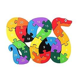 SODIAL Alfabeto Puzzle 3D Legno Giochi educativi per bambini Animali Regalo giocattolo serpente