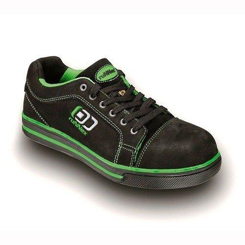 """ruNNex Sicherheitsschuh S3 """"5344"""" SportStar Leichter Arbeitsschuh mit Alukappe im Sneaker Chuck Look Leder, schwarz-grün, Größe 43"""