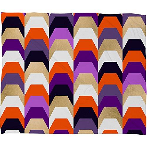 DENY Designs Stacks of Purple and Orange Plush Fleece Throw Blanket, 50 x 60 -