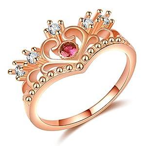 Impression 1PCS Ringe Ring Krone Herz Liebe Diamant-Ring Mode-Ring Schmuck-Girl Zubehör Valentinstag Geschenke aus Glas Hochzeit Ring offen Gold Rosa
