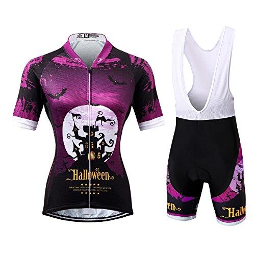 Thriller Rider Sports® Damen Halloween Sport & Freizeit MTB Fahrradbekleidung Radtrikot und Trägerhose Anzüge X-Large