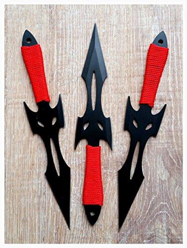 Perfect Point Kunai, Wurfmesser Black Fighter - 3er Set - ohne Wicklung - Edelstahl - mit Nylontasche -