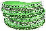 Mevina Damen Strass Armband Wickelarmband Armschmuck mit echten Kristallen in viele Farben Grün A1106