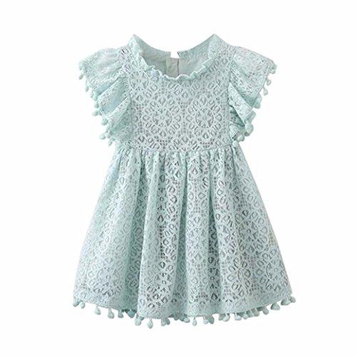 (Spitze Hohl Prinzessin Kleid Kleinkind Kinder, DoraMe Baby Mädchen Blumen Mustern Stickerei Party Kleid O-Ausschnitt Lässig Fly Ärmel Kleid (Hellblau, 3 Jahr))