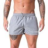 Xmiral Badehose Herren Verstellbarem Kordelzug Elastisch Taille Boxer Strandhosen Kurze Hosen Schnelltrocknend Surf Shorts Badeshorts(Grau,XXL)