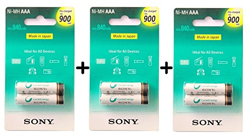 Sony AAA Cycle Energy 900 mAh Rechargeable Batteries (6 Pc)
