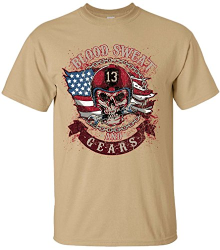 PAPAYANA - BLOOD-SWEAT - Herren T-Shirt - MOTORCYCLE HIPSTER SKULL CLUB Khaki