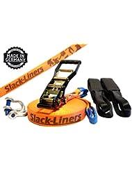 6 Teiliges Slackline-Set ORANGE - 50mm breit, 25m lang - mit Langhebelratsche - Slack-Liners - Made in Germany